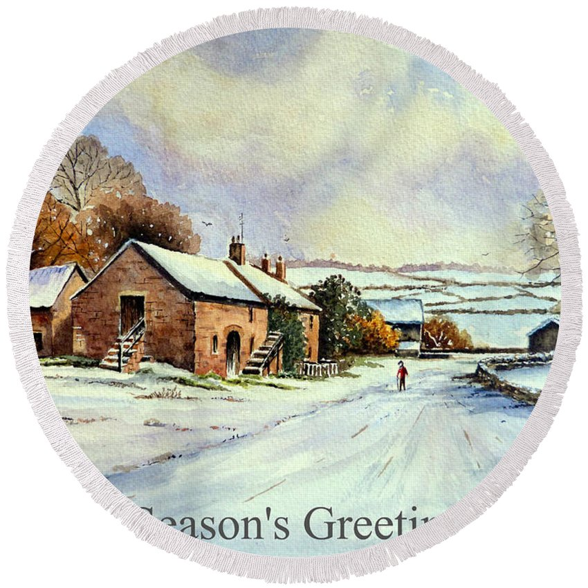 Early Morning Snow Christmas Cards Round Beach Towel for Sale by ...