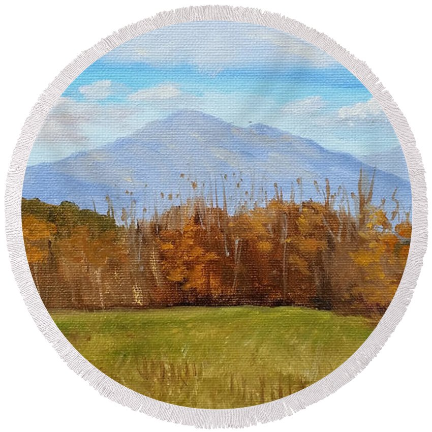 Mountains Round Beach Towel featuring the painting Early November At First Bridge by Sharon E Allen