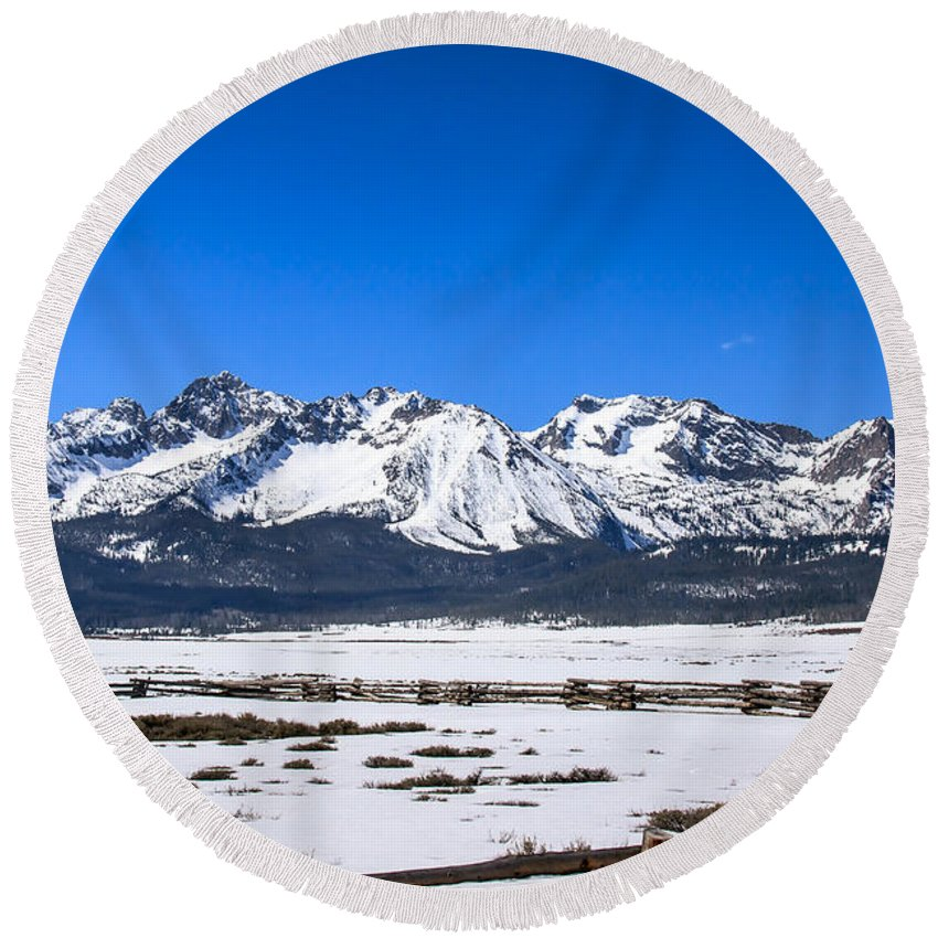 Rocky Mountains Round Beach Towel featuring the photograph Early Spring In The Sawtooth by Robert Bales