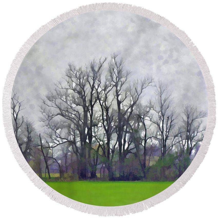 Nature Round Beach Towel featuring the photograph Early Spring Landscape Digital Paint by Debbie Portwood