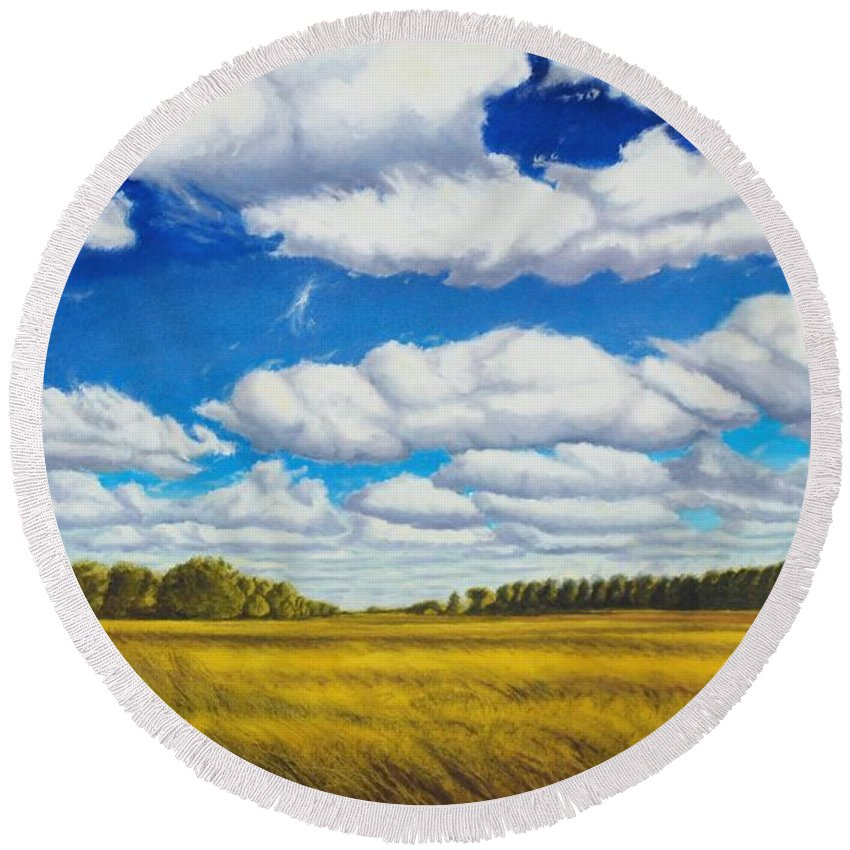 Wheat Round Beach Towel featuring the painting Early Summer Clouds by Leonard Heid