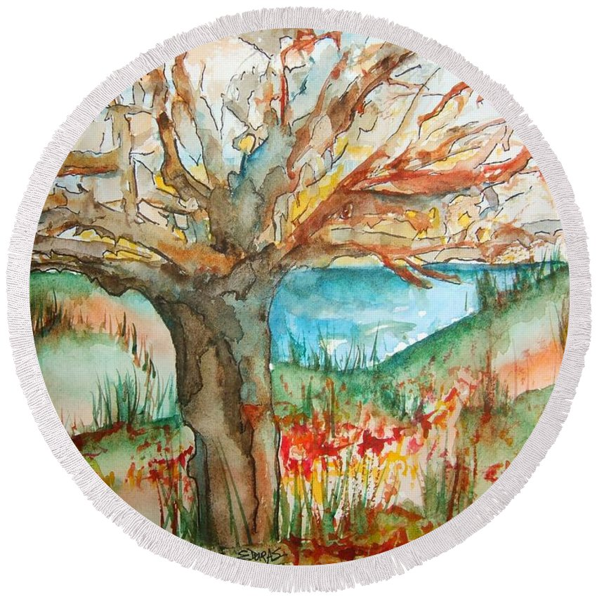 Tree Round Beach Towel featuring the painting Early Winter Tree by Elaine Duras
