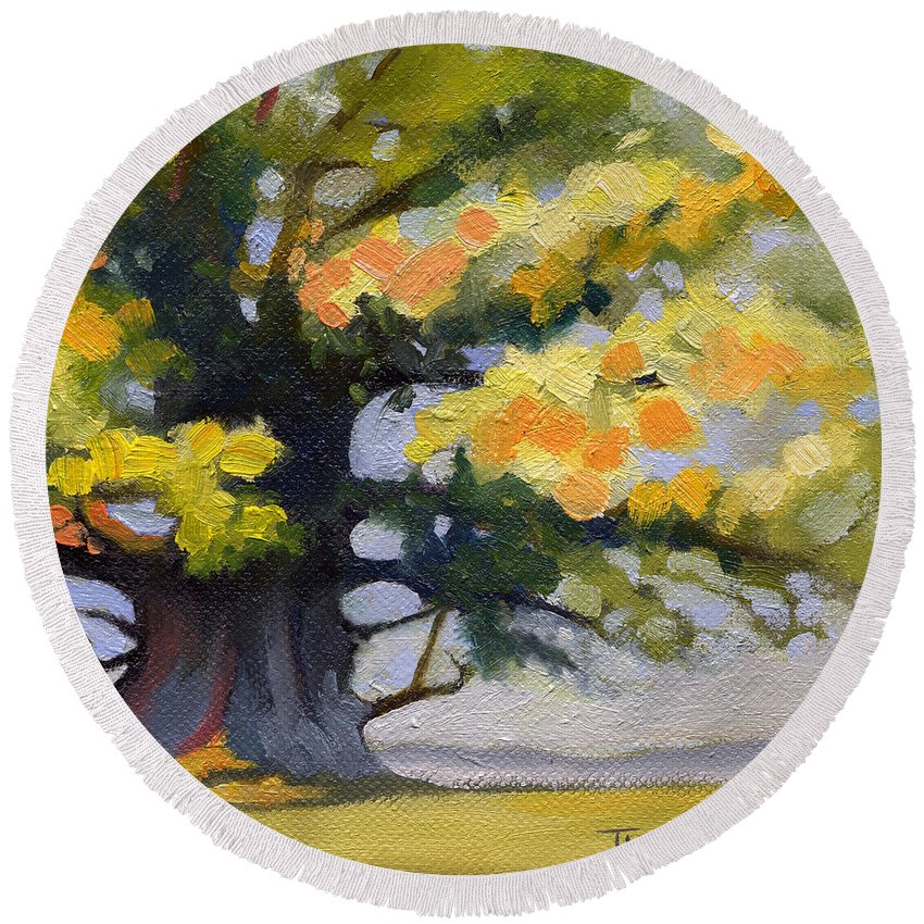 Oak Round Beach Towel featuring the painting Earlysville Virginia Ancient White Oak by Catherine Twomey