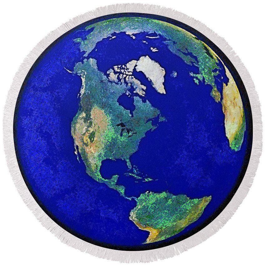 Earth Globe Round Beach Towel featuring the painting Earth From Space America by Dragica Micki Fortuna