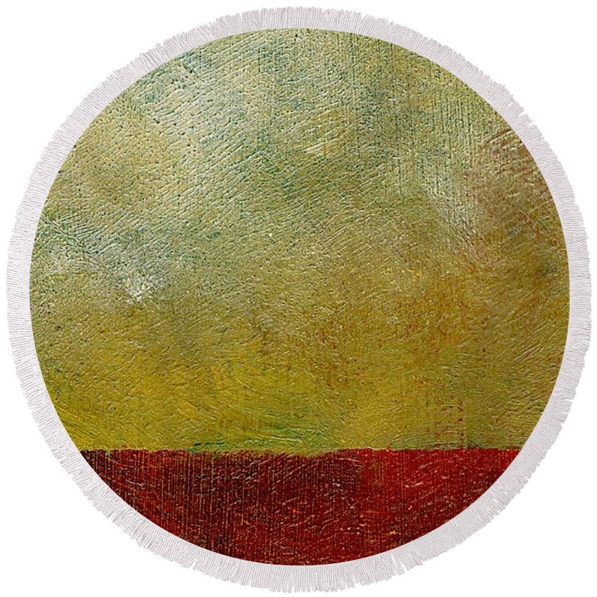 Abstract Landscape Round Beach Towel featuring the painting Earth Study One by Michelle Calkins