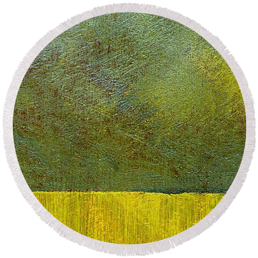 Abstract Landscape Round Beach Towel featuring the painting Earth Study Two by Michelle Calkins