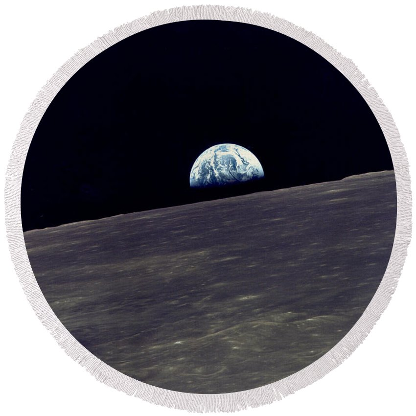 1960s Round Beach Towel featuring the photograph Earthrise Over The Moon by Underwood Archives NASA