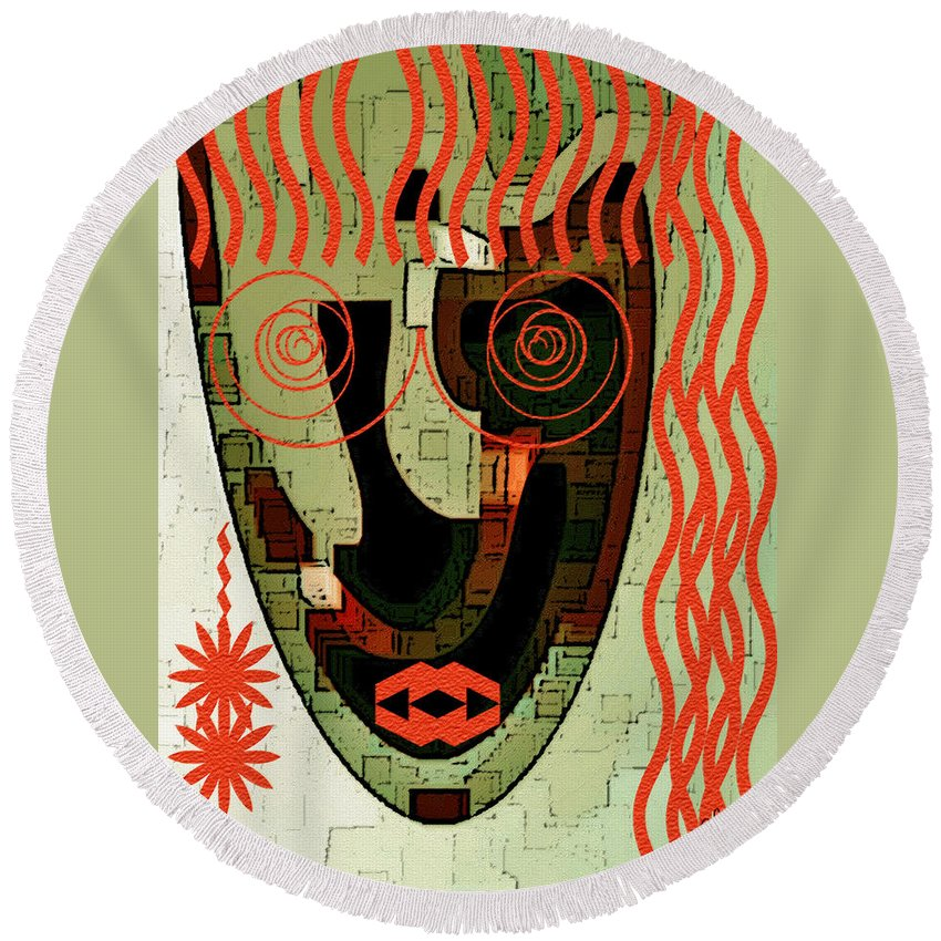 Abstract Face Round Beach Towel featuring the digital art Earthy Woman by Ben and Raisa Gertsberg