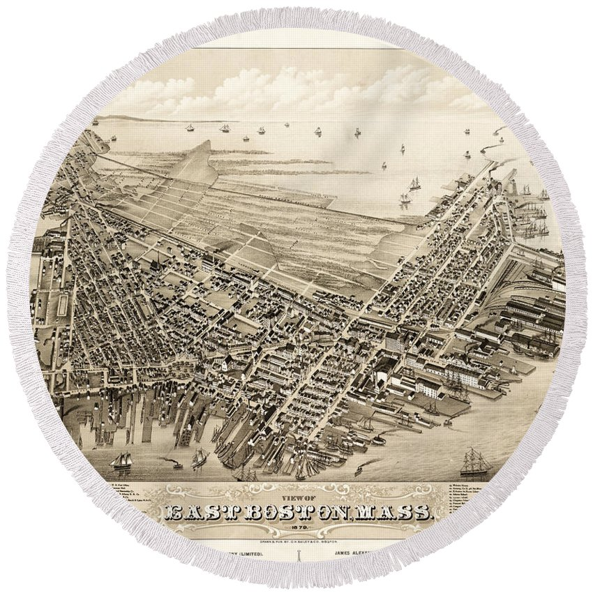 Antique Map Round Beach Towel featuring the photograph East Boston 1879 by Andrew Fare