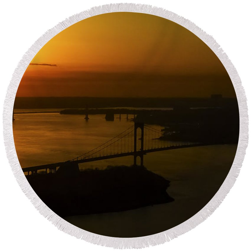 Silhouette Round Beach Towel featuring the photograph East River Sunrise by Greg Reed