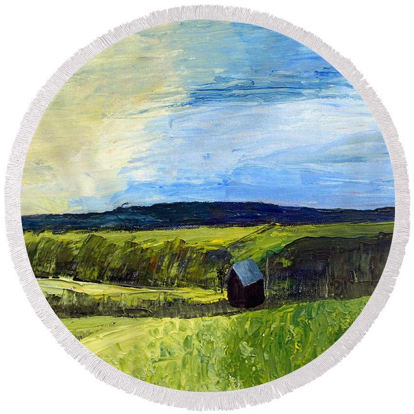 Landscape Round Beach Towel featuring the painting East Tennessee Farm by Trisha Lyons