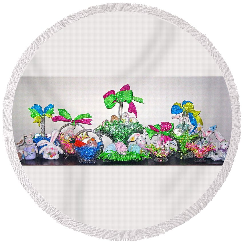 Easter Baskets Round Beach Towel featuring the photograph Easter Baskets In A Row by Nancy Patterson