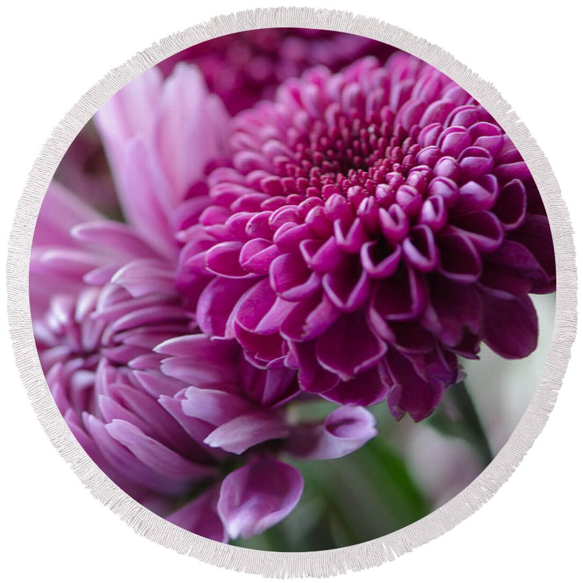 Mums Round Beach Towel featuring the photograph Easter Bouquet Flowers Mums And Dahlia by Michael Moriarty