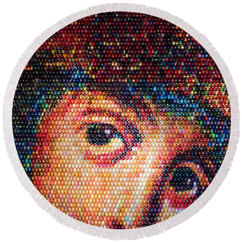 Kiev Round Beach Towel featuring the photograph Easter Eggs Mosaic by Iryna Goodall