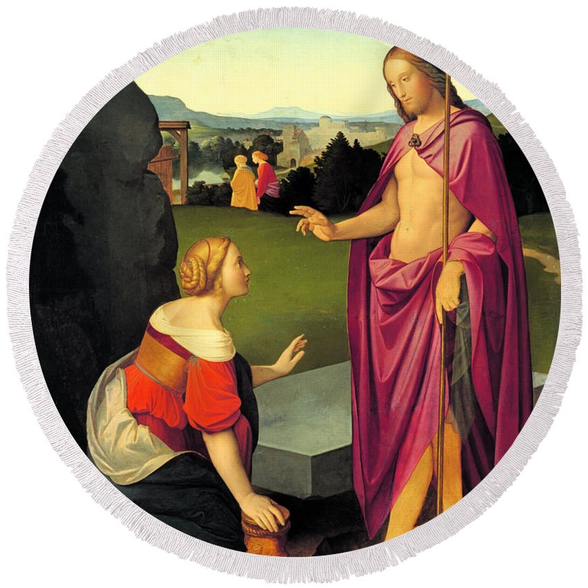 Friedrich Overbeck Round Beach Towel featuring the painting Easter Morning by Friedrich Overbeck