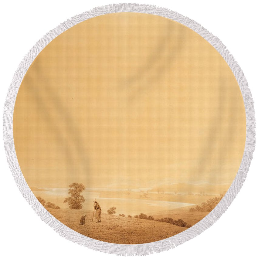 Caspar David Friedrich Round Beach Towel featuring the drawing Eastern Coast Of Ruegen Island With Shepherd by Caspar David Friedrich