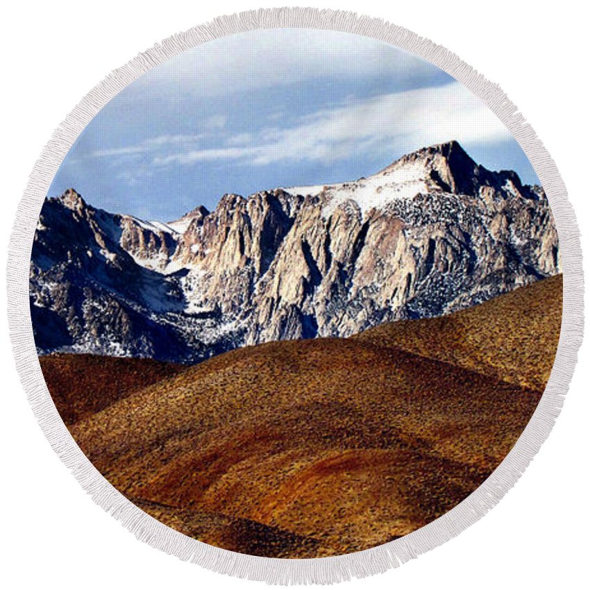 Eastern Sierra Round Beach Towel featuring the photograph Eastern Sierra Landscape by Shawn McMillan