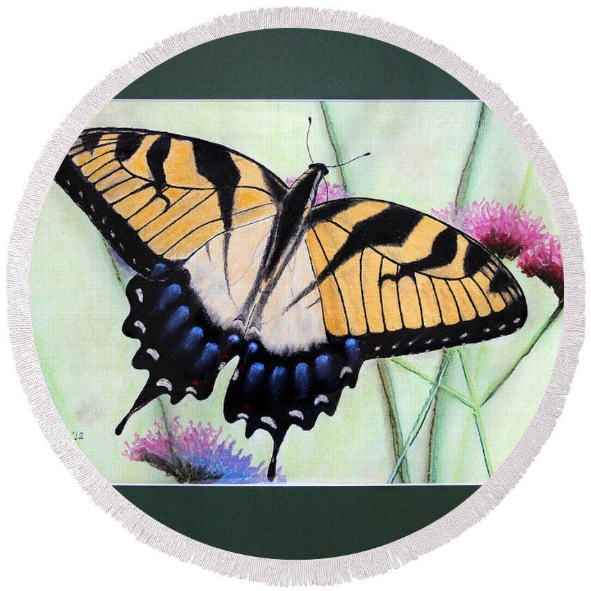 Eastern Tiger Swallowtail Round Beach Towel featuring the photograph Eastern Tiger Swallowtail Butterfly By George Wood by Karen Adams