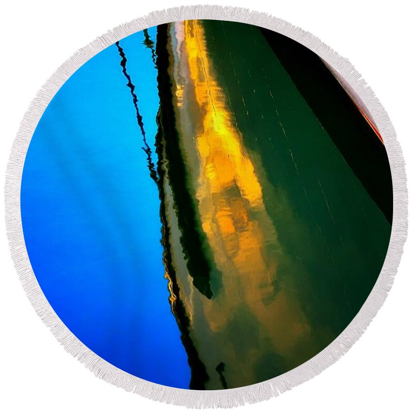 Abstract Round Beach Towel featuring the photograph Easy Waters by Lauren Leigh Hunter Fine Art Photography