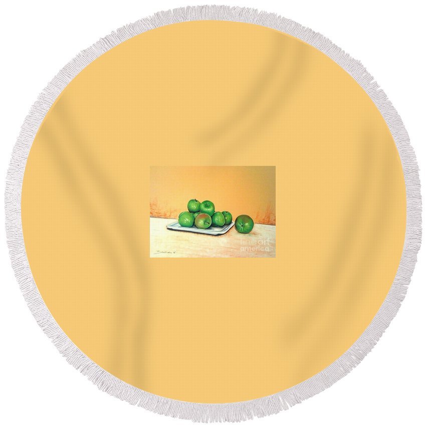 Apples Round Beach Towel featuring the pastel Eat Green by Katharina Filus