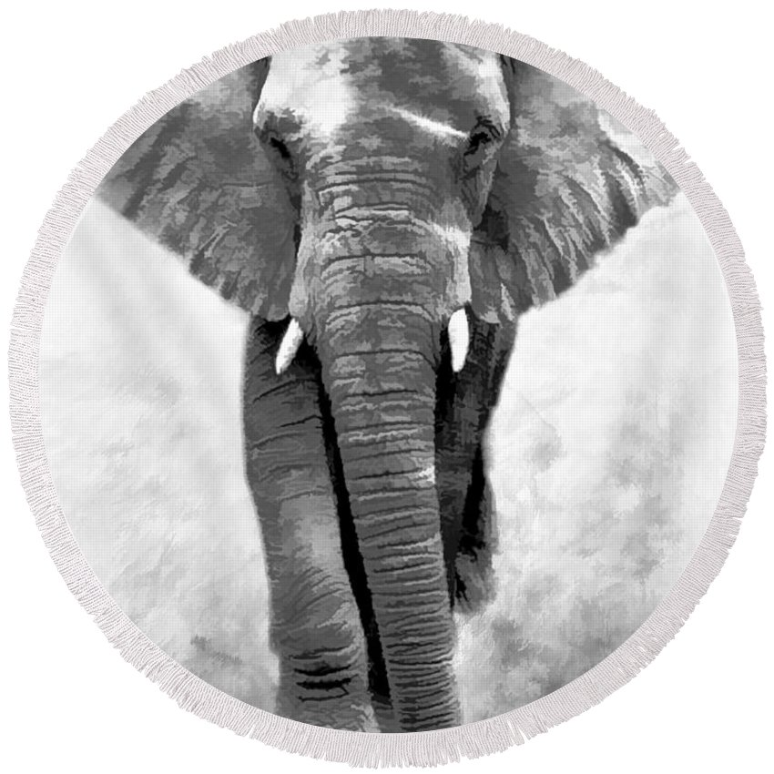 Elephant Round Beach Towel featuring the photograph Ebony Ivory African Elephant by Athena Mckinzie