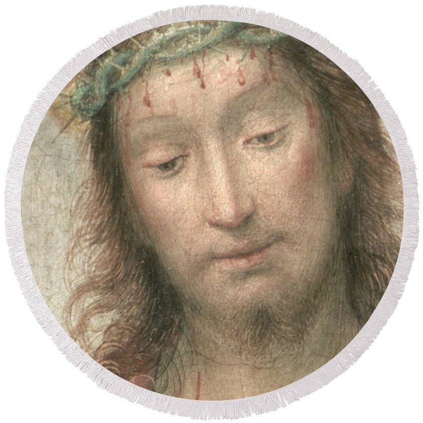 Renaissance Round Beach Towel featuring the painting Ecce Homo by Fra Bartolommeo