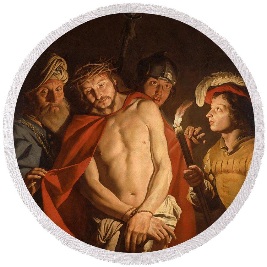 Matthias Stom Round Beach Towel featuring the painting Ecce Homo by Matthias Stom