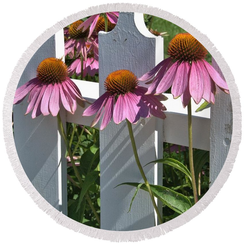 Echinacea Round Beach Towel featuring the photograph Echinacea And A White Picket Fence by Valerie Kirkwood