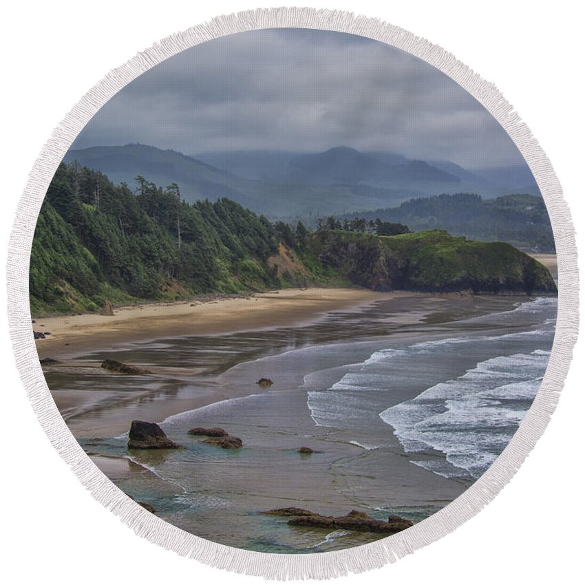 Beach Round Beach Towel featuring the photograph Ecola View by Erika Fawcett