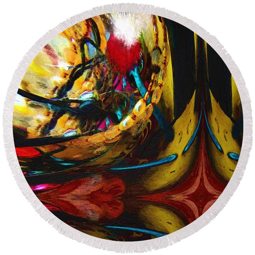 Abstract Round Beach Towel featuring the painting Ecstasy In Leather And Pearl by RC DeWinter