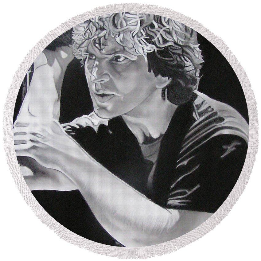Eddie Vedder Round Beach Towel featuring the drawing Eddie Vedder by Joshua Morton