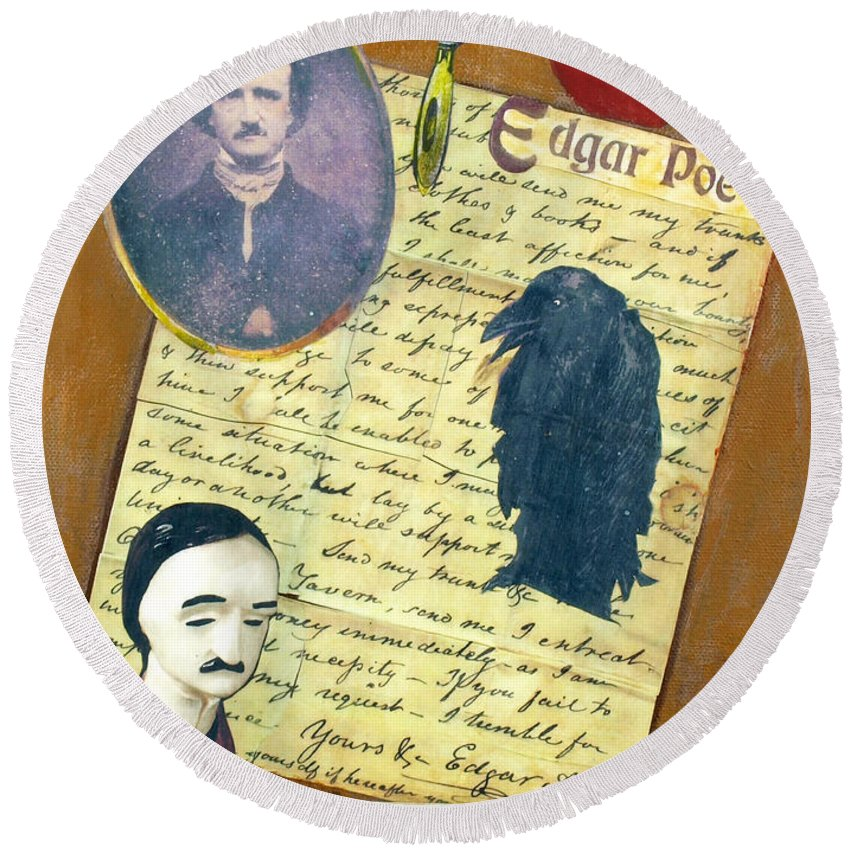 Poe Round Beach Towel featuring the mixed media Edgar Allen Poe by Judy Tolley