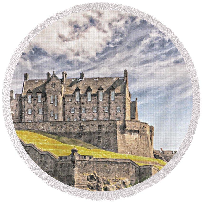 Oil Round Beach Towel featuring the painting Edinburgh Castle Painting by Antony McAulay