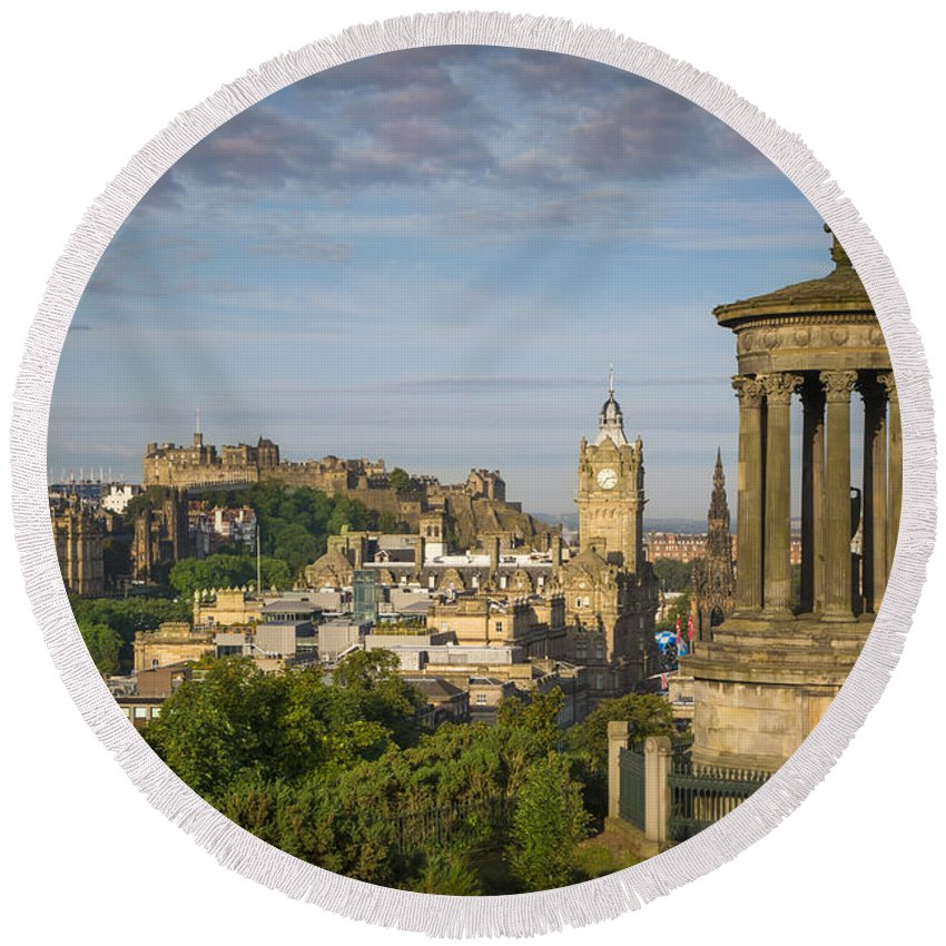 Architectural Round Beach Towel featuring the photograph Edinburgh Sunrise by Brian Jannsen