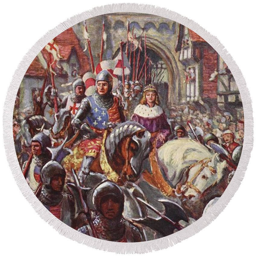 Male Round Beach Towel featuring the drawing Edward V Rides Into London With Duke by Charles John de Lacy