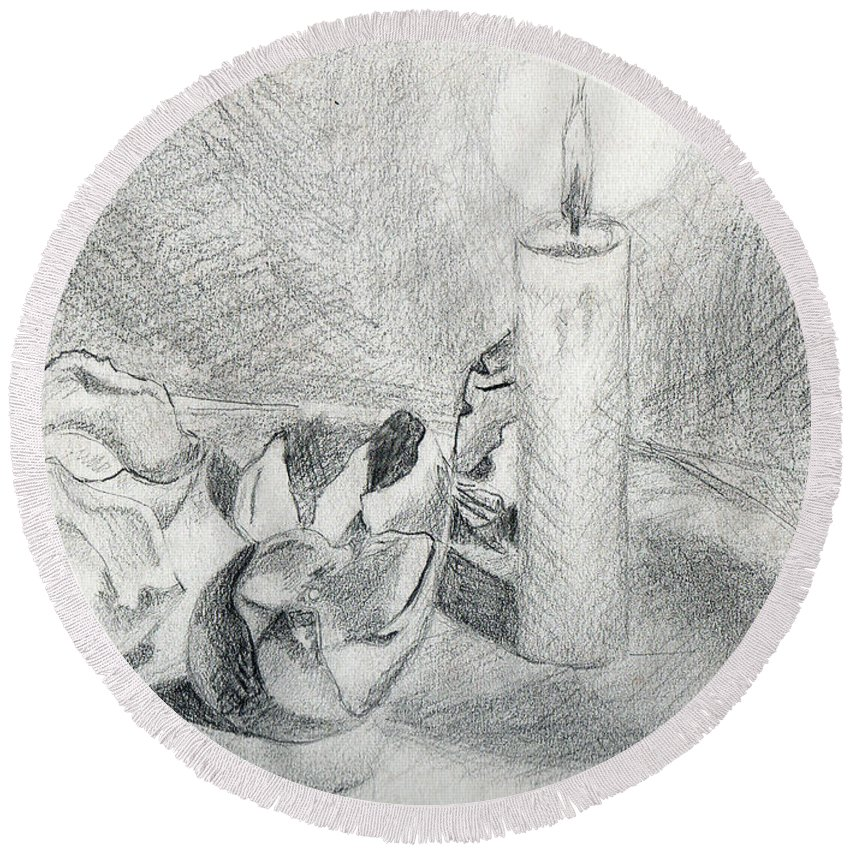 Eggshells Round Beach Towel featuring the drawing Eggshells In Candlelight by Genevieve Esson