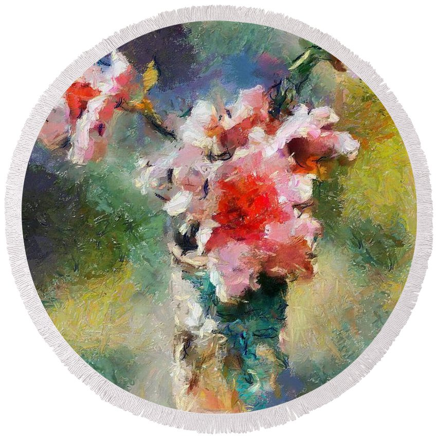 Stilllife Round Beach Towel featuring the painting Eglantine From My Garden by Dragica Micki Fortuna