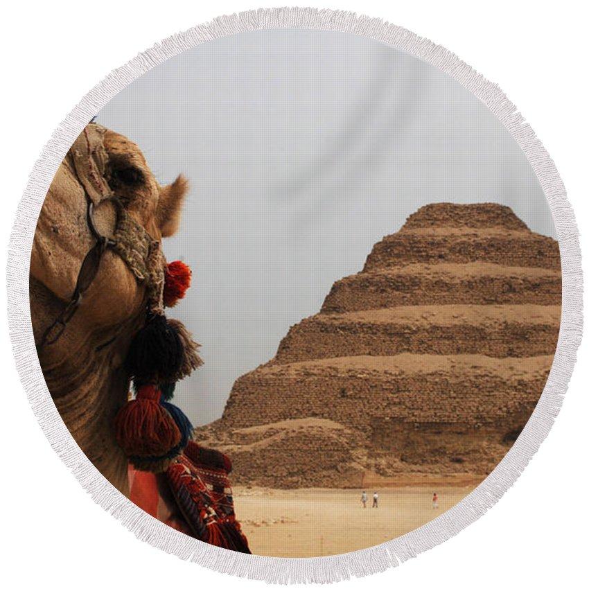 Egypt Round Beach Towel featuring the photograph Egypt Step Pyramid Saqqara by Bob Christopher