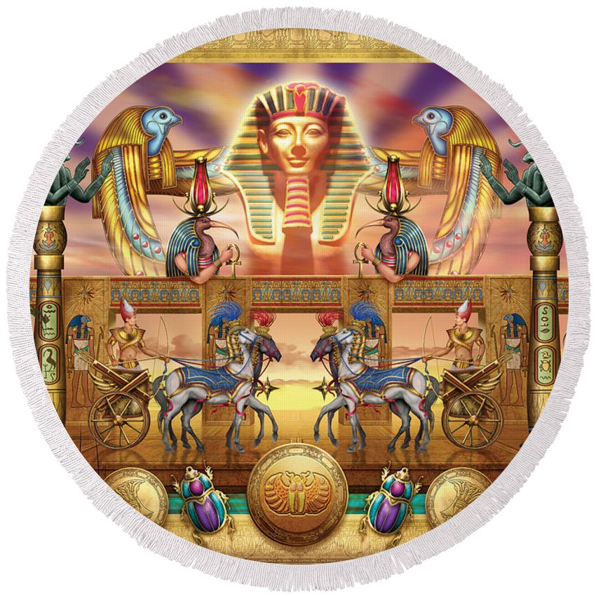 Authority Round Beach Towel featuring the digital art Egyptian by Ciro Marchetti