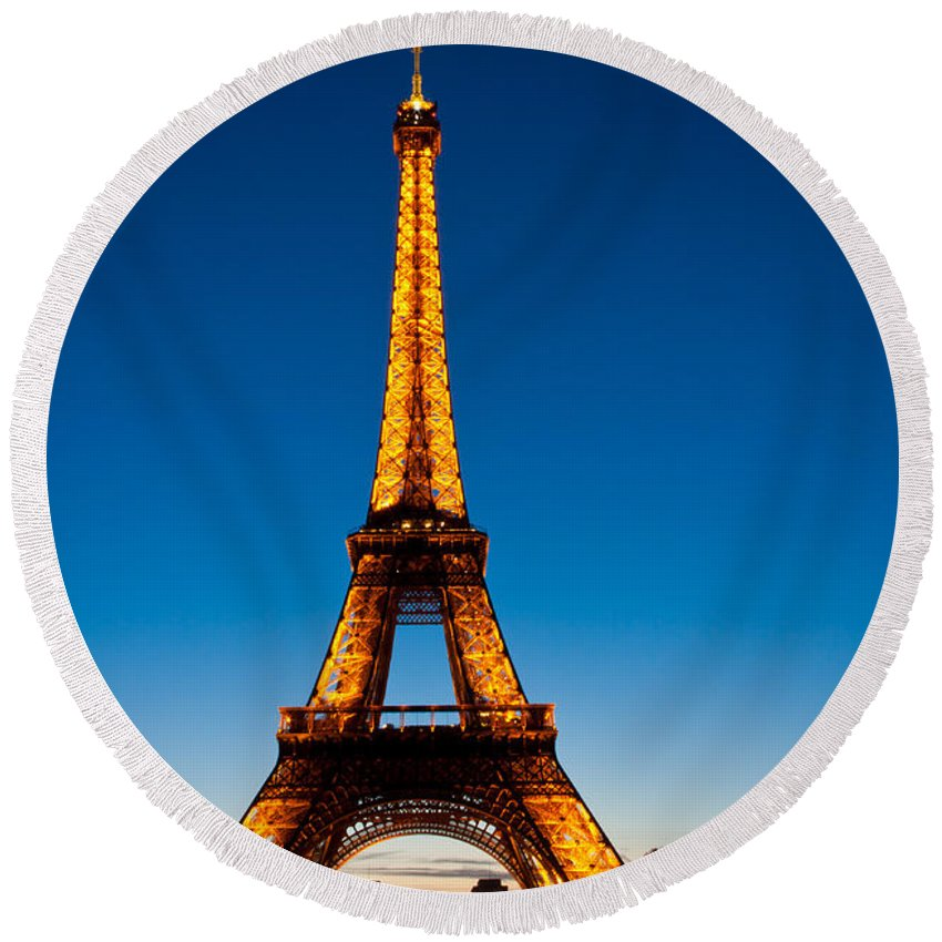 Eiffel Tower Round Beach Towel featuring the photograph Eiffel Tower At Dusk by Anthony Doudt