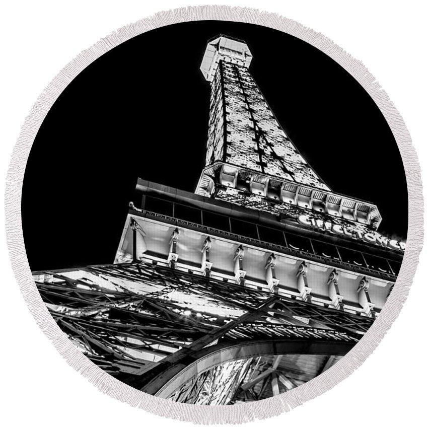 Eiffel Tower Round Beach Towel featuring the photograph Industrial Romance by Az Jackson