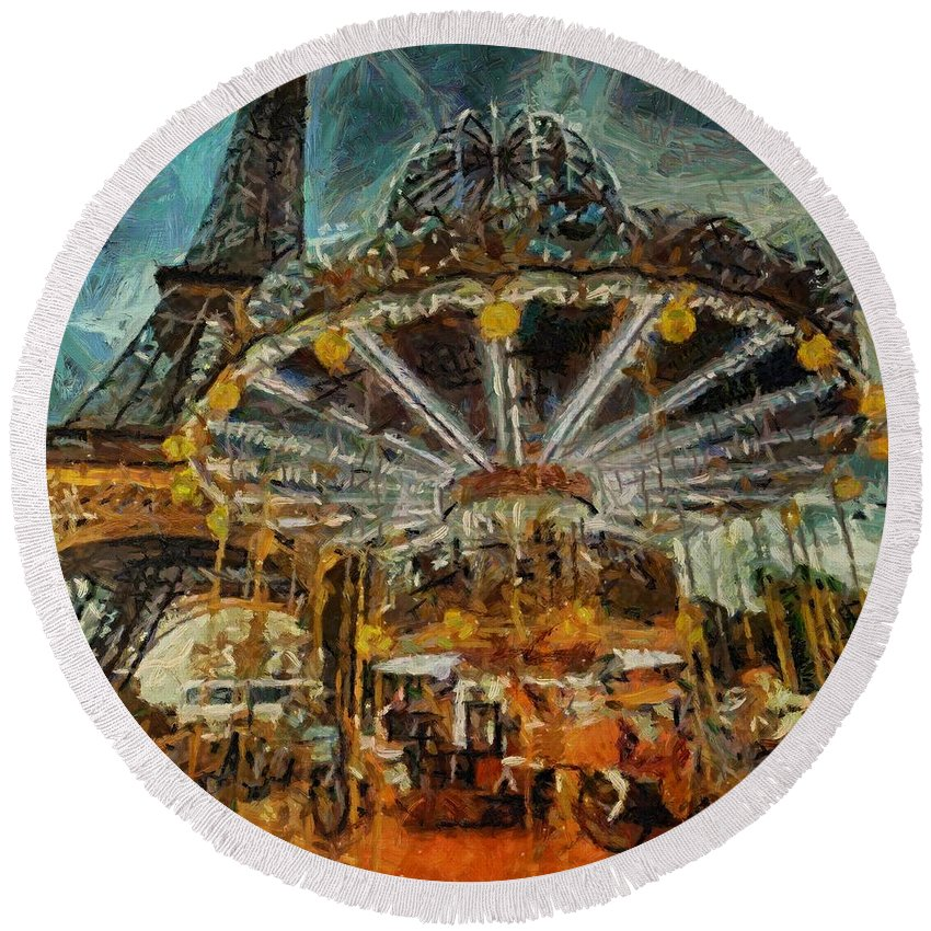 Eiffel Tower Round Beach Towel featuring the painting Eiffel Tower Carousel by Dragica Micki Fortuna