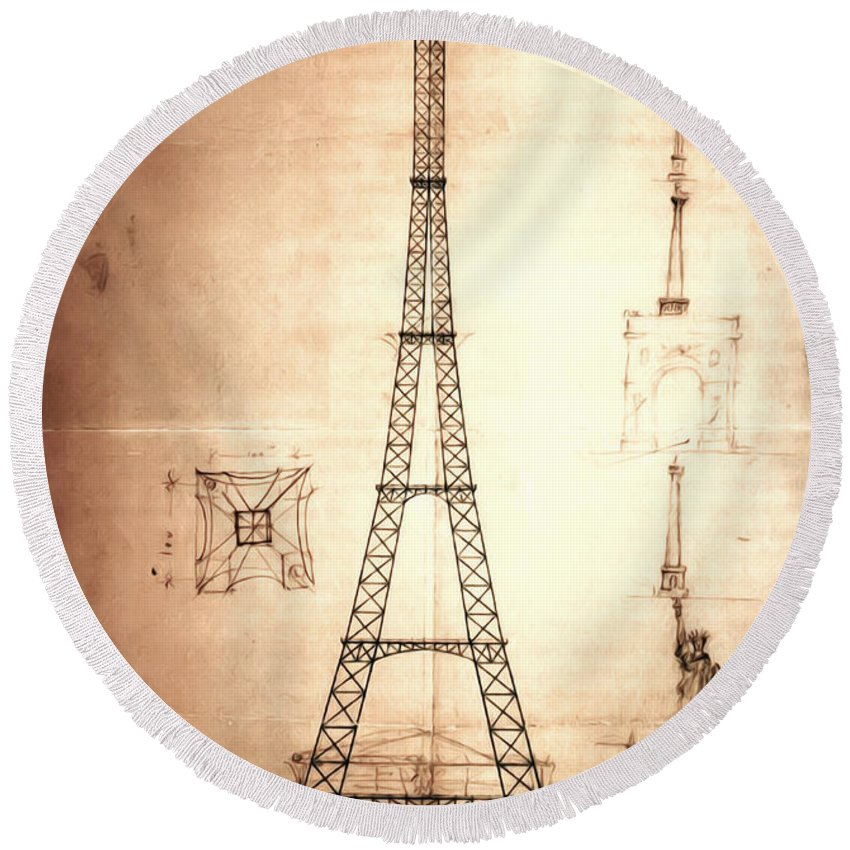 First Round Beach Towel featuring the digital art Eiffel Tower Design by Bill Cannon