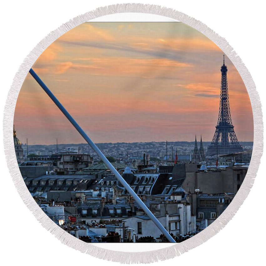 Eiffel Round Beach Towel featuring the photograph Eiffel Tower From Above by Joan Minchak