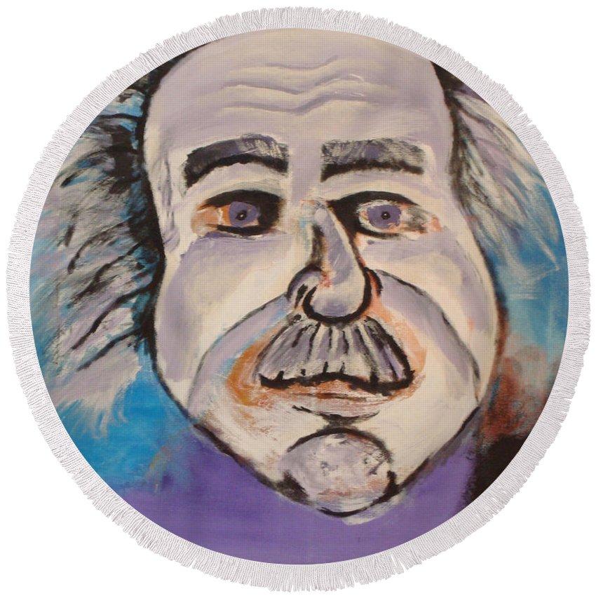 Rick Huotari Round Beach Towel featuring the painting Einstein by Rick Huotari