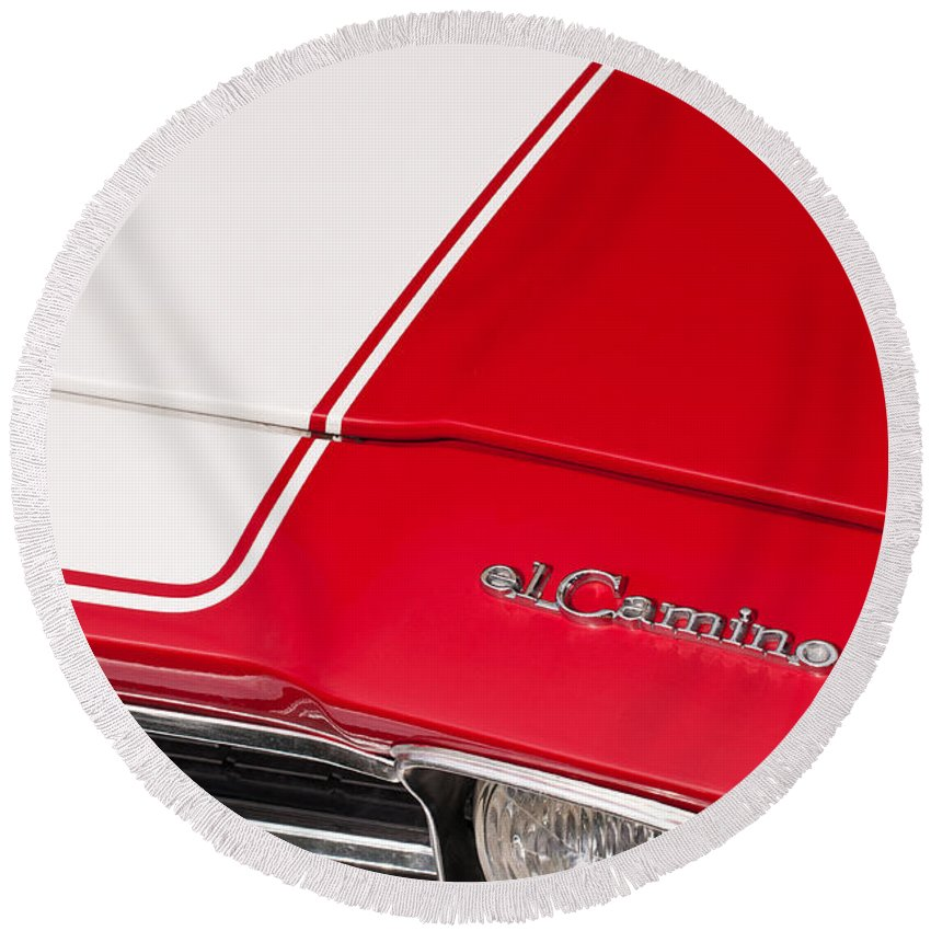 1969 Round Beach Towel featuring the photograph El Camino 04 by Rick Piper Photography