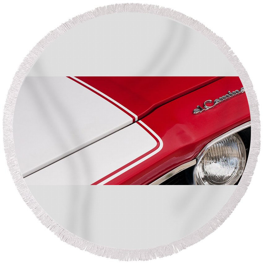 1969 Round Beach Towel featuring the photograph El Camino 05 by Rick Piper Photography