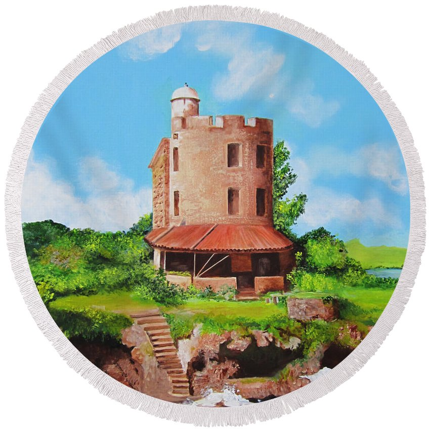 El Morrillo Round Beach Towel featuring the painting El Morrillo Fort In Matanzas Cuba by Dominica Alcantara