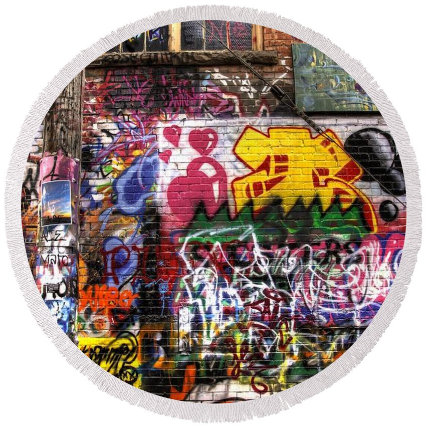 Graffiti Round Beach Towel featuring the photograph Electric Feel by Anthony Wilkening