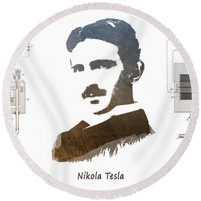 Electric Generator Round Beach Towel featuring the digital art electric generator patent art Nikola Tesla by Justyna JBJart